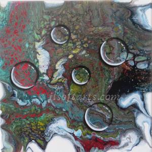 """Toile absraite titrée """"Gouttes d'eau"""" peinte par Johanne Lepage - JL Soft Arts ( acrylique fluide, coulage, entonnoir )"""