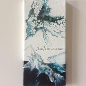 """Toile absraite titrée """"l'envol du papillon """" peinte par Johanne Lepage - JL Soft Arts ( acrylique fluide, coulage, dutch pour )"""