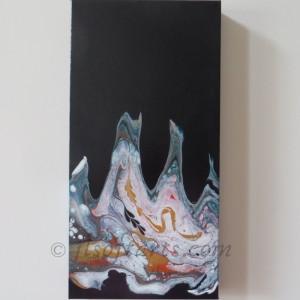 """Toile absraite titrée """"lTransmutation atomique"""" peinte par Johanne Lepage - JL Soft Arts ( acrylique fluide, coulage, dustpan )"""