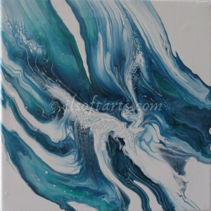 """Toile absraite titrée """"Écume de mer"""" peinte par Johanne Lepage - JL Soft Arts ( acrylique fluide, coulage, bloom )"""