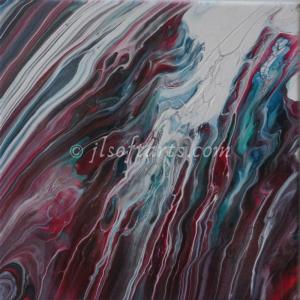 """Toile absraite titrée """"La fonte des éléments"""" peinte par Johanne Lepage - JL Soft Arts ( acrylique fluide, coulage, bloom )"""