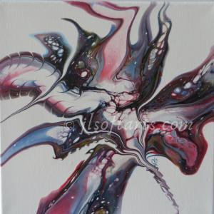 """Toile absraite titrée """"Fleur sauvage"""" peinte par Johanne Lepage - JL Soft Arts ( acrylique fluide, coulage, bloom )"""