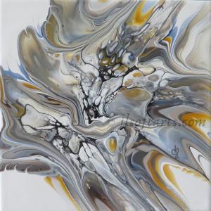 """Céramique absraite titrée """"Étoile filante"""" peinte par Johanne Lepage - JL Soft Arts ( acrylique fluide, coulage, bloom(anglais )"""