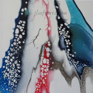 """Toile abstraite titrée """"À coeur ouvert"""" peinte par Johanne Lepage - JL Soft Arts ( acrylique fluide, coulage )"""
