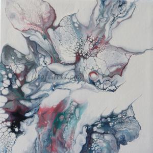 """Toile abstraite titrée """"L'éveil des sens"""" peinte par Johanne Lepage - JL Soft Arts ( acrylique fluide, coulage )"""
