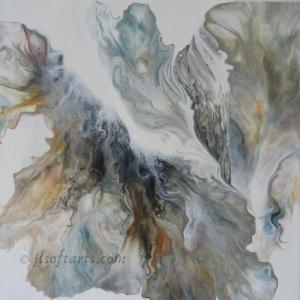 """Toile abstraite titrée """"Nuages d'automne"""" peinte par Johanne Lepage - JL Soft Arts ( acrylique fluide, coulage )"""