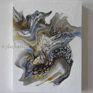 """Oeuvre intuitive titrée """"Inconnu au Bal masqué"""" peinte par Johanne Lepage - JL Soft Arts ( acrylique fluide, coulage, bloom(anglais )"""